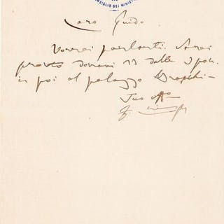 Francesco Crispi Politic - Autograph; Letter with Request...