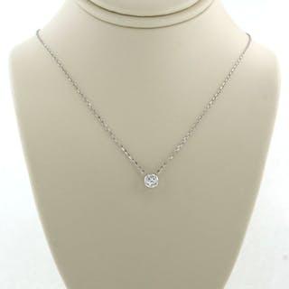 14 kt Weißgold - Halskette mit Anhänger - 0.10 ct Diamant