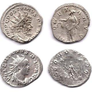 Römisches Reich - Lot von 2 Silber-Antoninian: Postumus...