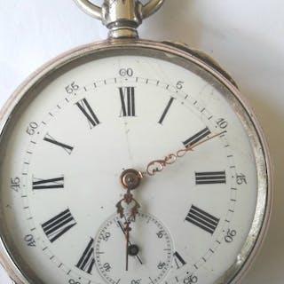 Ancre Spiral Breguet 15 Rubis 800 silver - Pocket Watch - Herren - 1850-1900