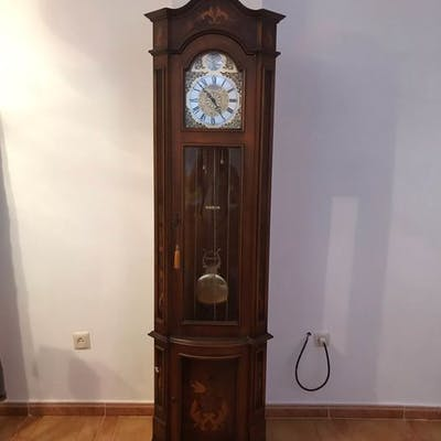 Grandfather Clock Wood Mahogany Late 20th Century