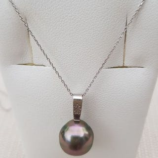 18 kt. White gold - Necklace with pendant Thaiti