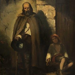 Artista sconosciuto (firmato M. Bibesco 1866) - Mendicanti