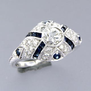 14 kt. White gold - Ring - 0.98 ct Diamond - Sapphire