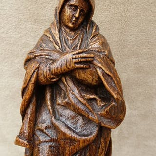 Sculpture, Grieving Madonna - Oak - Early 17th century