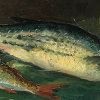 Gio' Battista Lepori  - 2 pesci con un limone natura morta