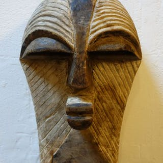Maske - Holz-Kaolin -Songye-Kifwebe - Kongo