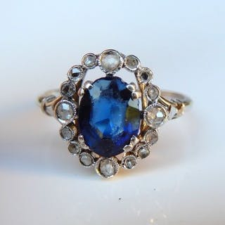 Synthetic - 18 kt. White gold - Ring - 1.65 ct Sapphire - Diamond