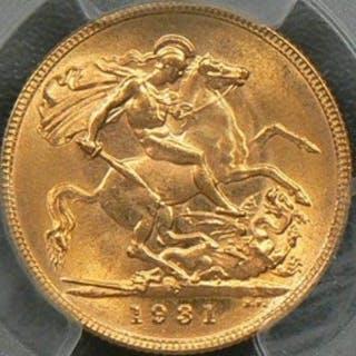 Australia - Sovereign  1931-P (Perth) George V - PCGS MS62 - Oro