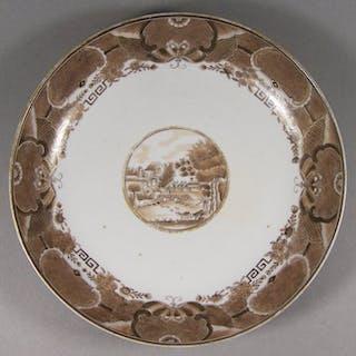 Saucer - Porcelain - A rare sepia and giltEuropean-subject Fitzhugh saucer