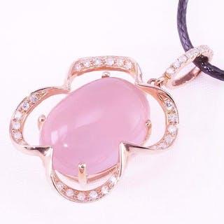 14 KtPink gold - Pendant - 6.63 ct Rose Quartz - Diamonds