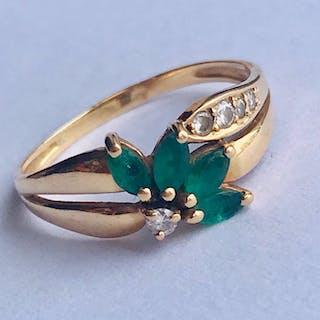 18 carats Or jaune - Bague Diamant - Émeraude