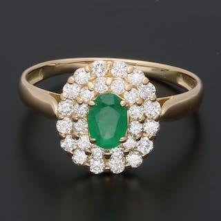 18 kt. Gold - Ring Emerald - Diamond