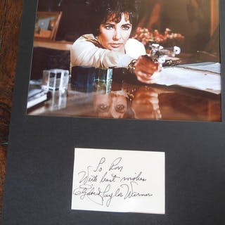 Elizabeth Taylor - Color Photo & Signed, dedicated Card,with COA