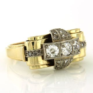 14 kt. White gold, Yellow gold - Ring - 1.00 ct Diamond