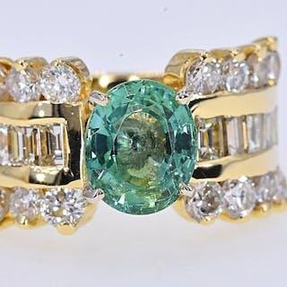 Yellow gold - Ring - 2.02 ct Tourmaline - 2.63 Ct Diamonds