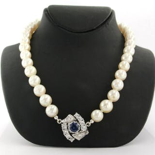 18 kt. White gold - Necklace - 0.80 ct Sapphire - Diamond, Pearl