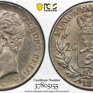 Belgium - 20 centimes 1858 PCGS AU-58 - Silver