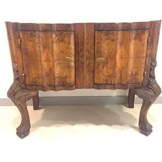 Tavolo consolle, Meravigliosa piccola consolle con due ante ondulate, 1930s