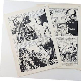 """Satanik n. 185 - 2x tavole originali """"L'Origine"""" - (1972)"""