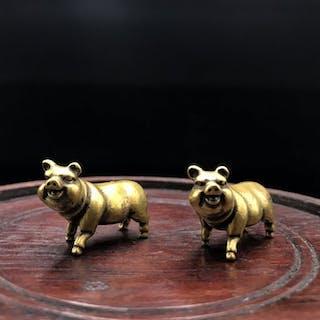 Figur, Netsuke (2) - Glück Schwein Paar - Bronze - China / Japan - Ende des 20