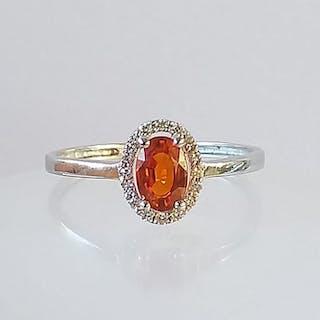 18 kt. White gold - Ring Orange Sapphire - Diamonds