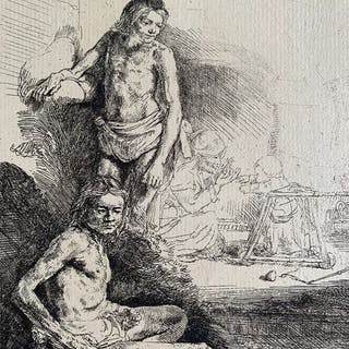 After Rembrandt Harmensz van Rijn - Nude man seated and another standing, 1646