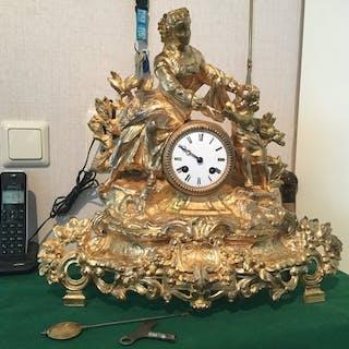Orologio da camino - L Marti & Cie - Lega fuoco dorato - XIX secolo