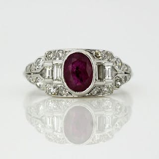 18 kt. White gold - Ring Ruby - Diamonds