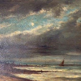 Louis Artan (1837-1890) - Marine au coucher du soleil un soir de lune