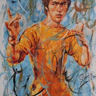 Bruce Lee-Artwork- 1/1 Signed - Blankò -Mixed Technique Acrylic