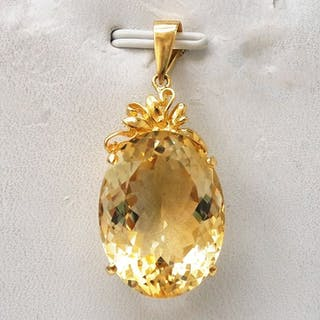 14 kt. Yellow gold - Pendant - 19.00 ct Citrine