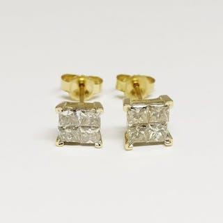 14 kt. Yellow gold - Earrings - 1.05 ct Diamond
