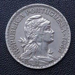 Portugal - República - 1 Escudo1935 - Rara- Alpaca