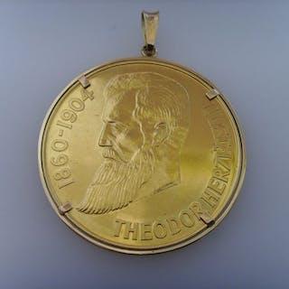 Israel - Herdenkingspenning 1948 Theodor Herzl met hanger - Gold
