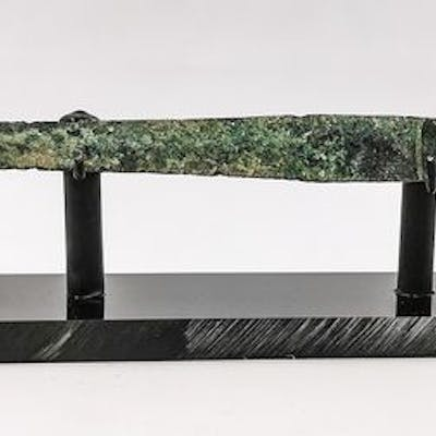 Ancient Luristan Bronze Short Sword with Handle on Stand