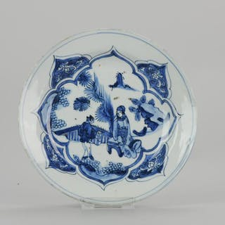 Plate - Porcelain - Late Ming or Transitional Plate A...