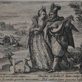 Crispijn van de Passe de Oude (1589-1637) - Man en vrouw met luit