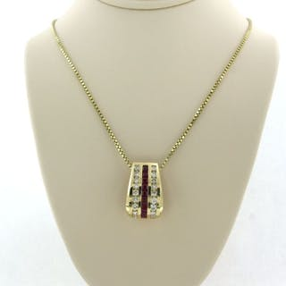 14 kt. Yellow gold - Necklace with pendant - 1.00 ct Diamond - Rubys