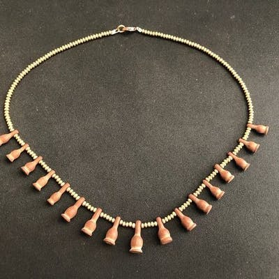 Ancient Egyptian Carnelian Brownish Poppy Seed Amulets necklace - (1)