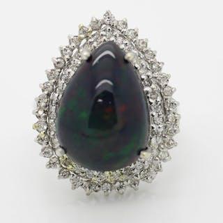 18 kt. White gold - Ring - 6.30 ct Opal - Diamonds