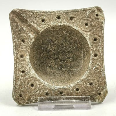 Bactrian Schist Decorated Oil Lamp with Sun Symbols