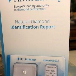 1 pcs Diamond - 0.20 ct - Brilliant - D (colourless) - VS2