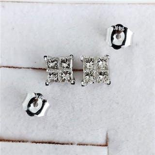 14 kt. White gold - Earrings - 0.62 ct Diamond