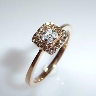 14 kt. Pink gold - Ring, 0.48 ct. diamonds - Diamonds
