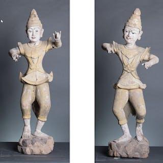 Statue - Wood - Pair of burmese Dancer - Burma - Mandalay Périod ( 1853-1948 )