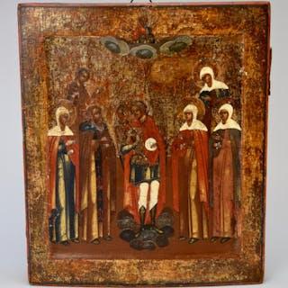 Icon, Antique Russian icon depicting ARCHANGEL MICHAEL...
