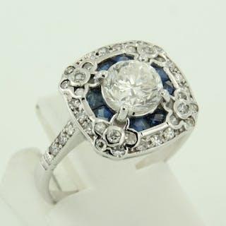 14 kt. White gold - Ring - 1.45 ct Diamond - Sapphire