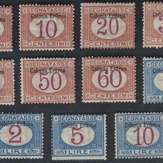 Eritrea italiana 1903 - serie Segnatasse sovrastampata in alto - Sassone NN