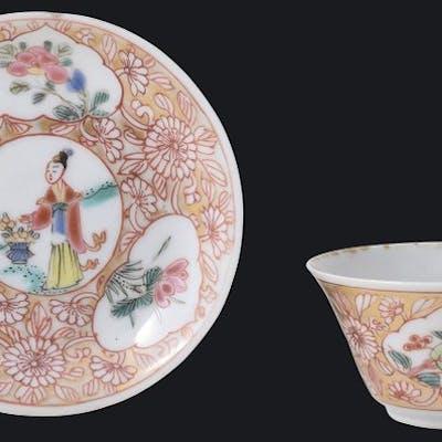 Bol à thé en coquille d'oeuf Famille rose décoré d'une...